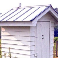 outhouse toilet installed in farm area