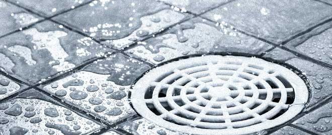 floor drain requiring cleaning