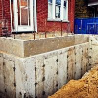 home foundation before waterproofing work