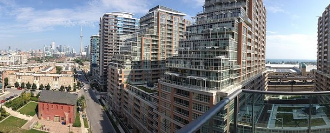 a view of liberty village from balcony of condo