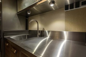 stainless steel sink in a beautiful kitchen