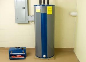 energy saving water heater in basement of a new home