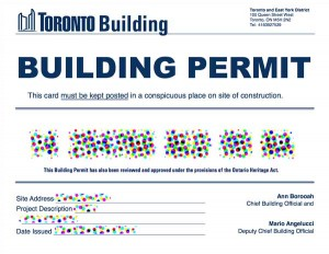 copy of a toronto building permit