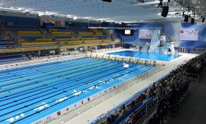 a swimming pool featured in the toronto pan am games is visible, it required commercial plumbing installation services