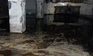 basement of a toronto home with clear signs of flooding